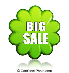 big spring sale green flower label