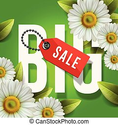 Big spring sale poster, green background with daisy flowers, vector Illustration.