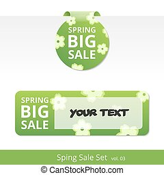 Big spring sale set. label with a rope for promotions.