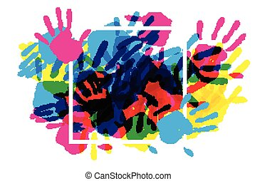 Big square frame made of colored handprints. Great banner...