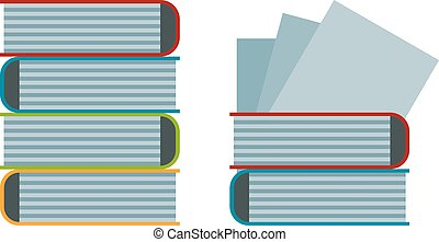 Big stack of old antique books education literature school vector illustration.