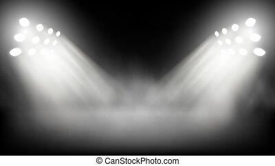 Big Stage Illuminated By Spotlights