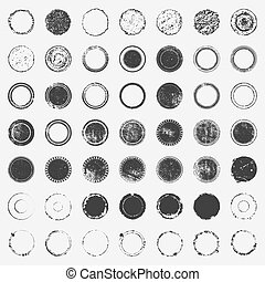 Big Stamp Bundle - Distressed post Stamp texture set. Circle...