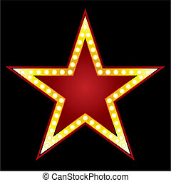 Symbol of big red star on black background