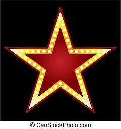 Big Star - Symbol of big red star on black background
