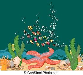 Big starfish under the sea