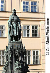 big statue of Charles IV King of Bohemia in prague