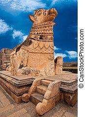 Big statue of Nandi Bull in front of Hindu Temple - Big...
