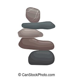 Big stone holds on itself a few small ones. Vector illustration on white background.