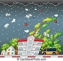 Big storm street scene