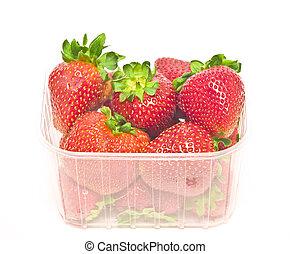 package - big strawberries in plastic package