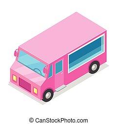 Big Streetfood Pink Truck Isolated Illustration