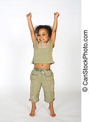 A beautiful mixed race girl having a big stretch