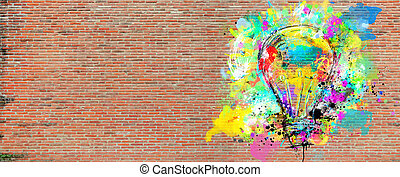 Big stylized light bulb on a big wall of bricks drawn with splashes of colored paint. Concept of innovation and creativity brick