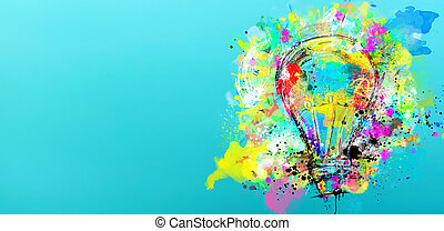 Big stylized light bulb on cyan background drawn with splashes of colored paint. Concept of innovation and creativity