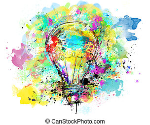 Big stylized light bulb on white background drawn with splashes of colored paint. Concept of innovation and creativity