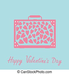 Big suitcase with hearts. Isolated. Happy Valentines Day card. Pink and blue. Flat design.