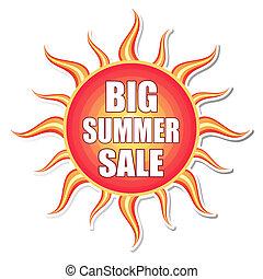 big summer sale in sun label