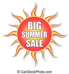 big summer sale in sun label, vecto