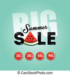 Big summer sale with a piece of watermelon
