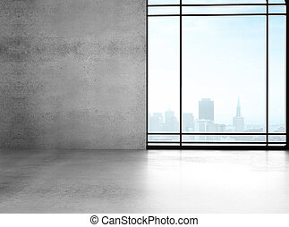 big sunlight office with window and gray wall
