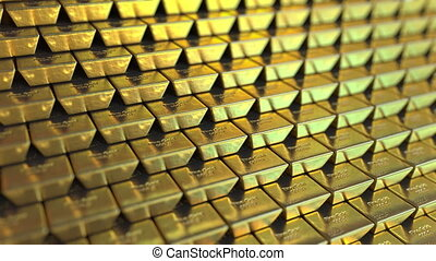 Big supply of fine gold bars or bullions. Realistic loopable...
