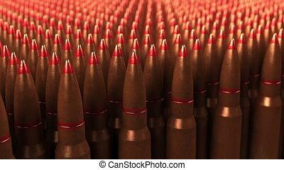 Big supply of shells or cartridges, seamless loop. War,...