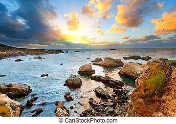 Big Sur Pacific Ocean coast at sunset - Pacific Ocean coast,...