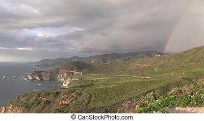 Big Sur Rainbow - a rainbow appears over the pacific coast...