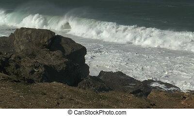 big surf at atlantic coast in portu