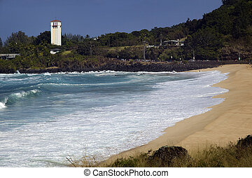 December on the North Shore of Oahu brings big surf and pounding waves to the coast and beaches.