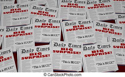 Big Surprise Shock News Announcement Newspaper Headlines 3d Illustration