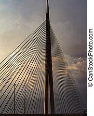 Big suspension bridge at sunset