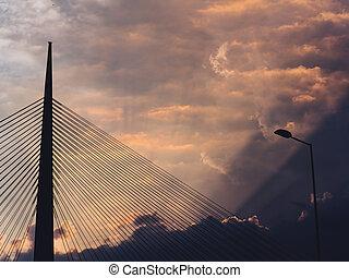 Big suspension bridge - cloudy sunset