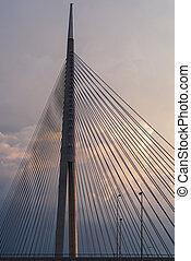 Big suspension bridge in Belgrade, Serbia