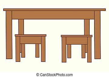 Big table and two chairs
