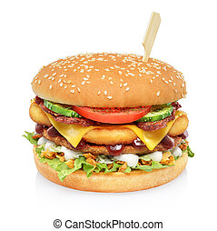 Big tall hamburger isolated