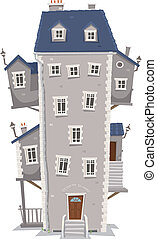 Illustration of a cartoon old high and big building home with windows, apartments and outbuildings on each side and stairs