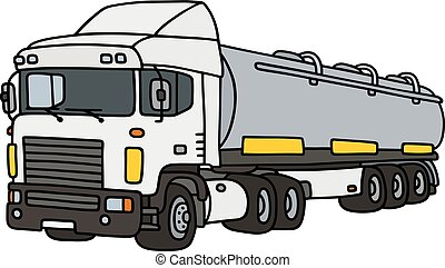Big tank semitrailer - Hand drawing of a funny white towing...