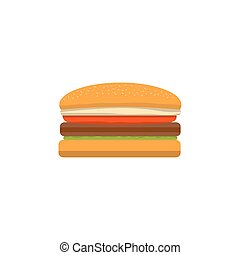 Big tasty cheeseburger on a white background executed in flat style