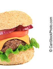 Big tasty fast food hamburger.