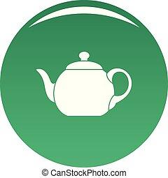 Big teapot icon vector green