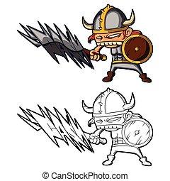 An illustration of cartoon viking with big teeth and graffiti sword