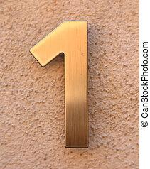 big text number 1 in golden metal