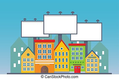 Big three blank urban billboard together over small city town street buildings. Cartoon Billboard advertisement commercial blank.