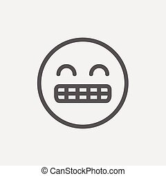 Big tooth smile thin line icon