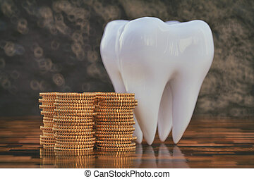 Big tooth with a stack of golden coins
