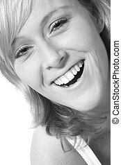 Big toothy smile - Studio portrait of a red haired model...