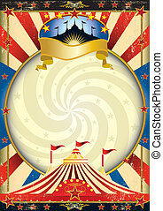big top circus poster - A circus poster with a vortex for...