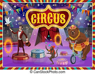 Big top circus show magician, animals performance - Circus...
